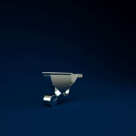 Silver Wheelbarrow icon isolated on blue background. Tool equipment. Agriculture cart wheel farm. Minimalism concept. 3d illustration 3D render