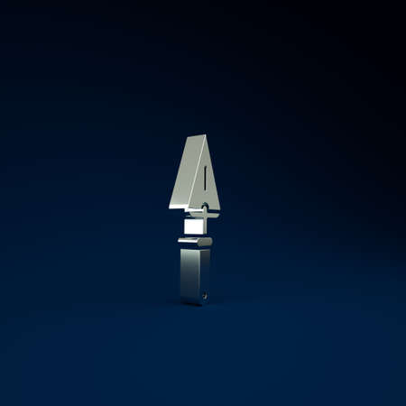 Silver Trowel icon isolated on blue background. Minimalism concept. 3d illustration 3D render