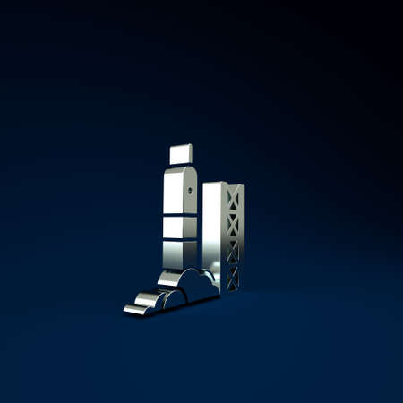 Silver Rocket launch from the spaceport icon isolated on blue background. Launch rocket in space. Minimalism concept. 3d illustration 3D render