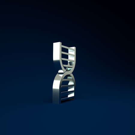 Silver DNA symbol icon isolated on blue background. Minimalism concept. 3d illustration 3D render