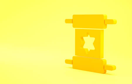 Yellow Torah scroll icon isolated on yellow background. Jewish Torah in expanded form. Star of David symbol. Old parchment scroll. Minimalism concept. 3d illustration 3D render
