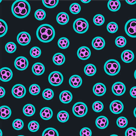 Line RGB and CMYK color mixing icon isolated seamless pattern on black background. Vector