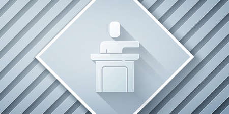 Paper cut Speaker icon isolated on grey background. Orator speaking from tribune. Public speech. Person on podium. Paper art style. Vector Çizim
