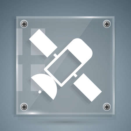White Satellite icon isolated on grey background. Square glass panels. Vector 矢量图像