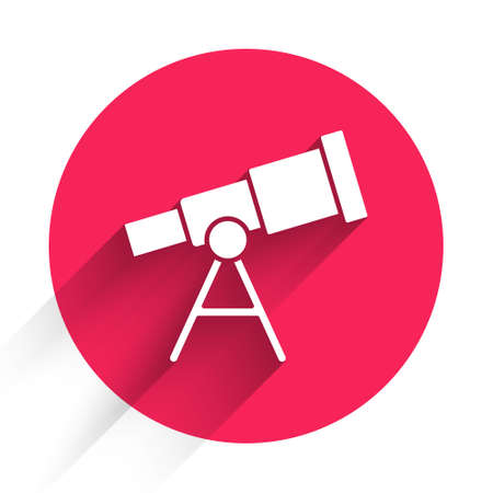 White Telescope icon isolated with long shadow. Scientific tool. Education and astronomy element, spyglass and study stars. Red circle button. Vector