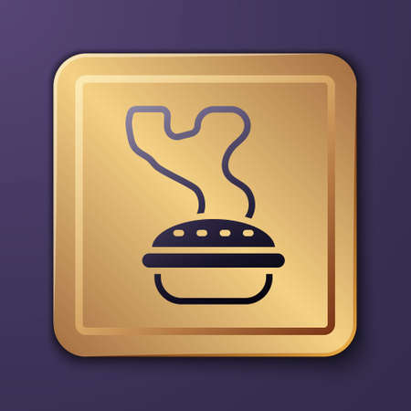 Purple Homemade pie icon isolated on purple background. Gold square button. Vector Vettoriali