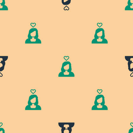 Green and black Romantic girl icon isolated seamless pattern on beige background. Happy Valentines Day. Vector Illusztráció