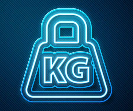 Glowing neon line Weight icon isolated on blue background. Kilogram weight block for weight lifting and scale. Mass symbol. Vector Illustration