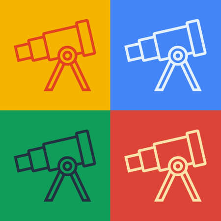 Pop art line Telescope icon isolated on color background. Scientific tool. Education and astronomy element, spyglass and study stars. Vector