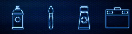 Set line Tube with paint palette, Paint spray can, Paint brush, Graphic tablet and Push pin. Glowing neon icon on brick wall. Vector
