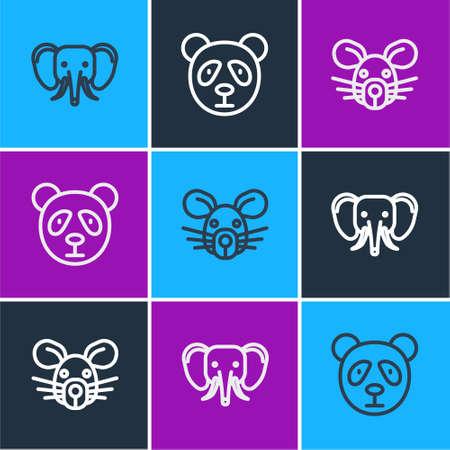 Set line Elephant, Rat head and Cute panda face icon. Vector