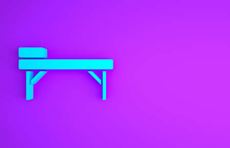 Blue Massage table icon isolated on purple background. Minimalism concept. 3d illustration 3D render