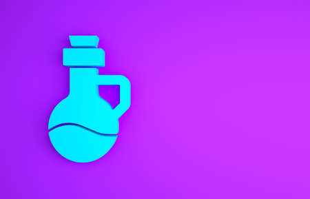Blue Essential oil bottle icon isolated on purple background. Organic aromatherapy essence. Skin care serum glass drop package. Minimalism concept. 3d illustration 3D render