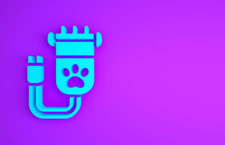 Blue Hair clipper accessories for pet grooming icon isolated on purple background. Minimalism concept. 3d illustration 3D render