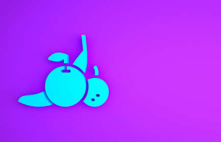 Blue Fruit icon isolated on purple background. Minimalism concept. 3d illustration 3D render Stock fotó