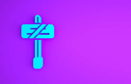 Blue Road traffic sign. Signpost icon isolated on purple background. Pointer symbol. Isolated street information sign. Direction sign. Minimalism concept. 3d illustration 3D render