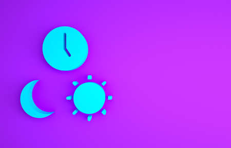 Blue Day and night with time icon isolated on purple background. Minimalism concept. 3d illustration 3D render