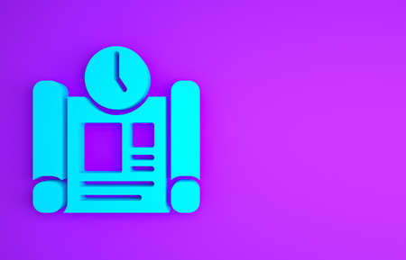 Blue Business project time plan icon isolated on purple background. Minimalism concept. 3d illustration 3D render