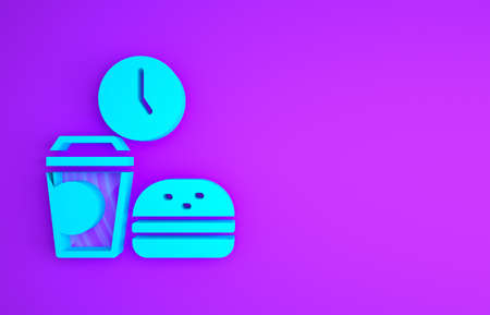 Blue Fast food time icon isolated on purple background. Minimalism concept. 3d illustration 3D render