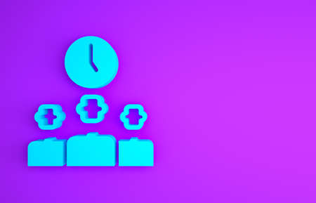 Blue Time Management icon isolated on purple background. Clock and gear sign. Productivity symbol. Minimalism concept. 3d illustration 3D render Banco de Imagens