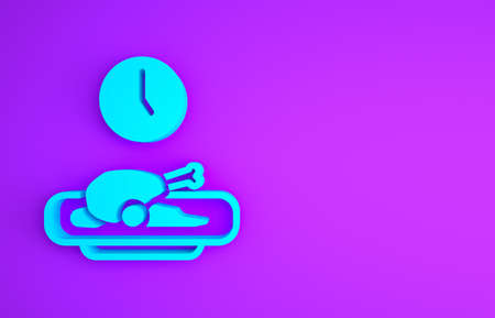Blue Food time icon isolated on purple background. Time to eat. Minimalism concept. 3d illustration 3D render