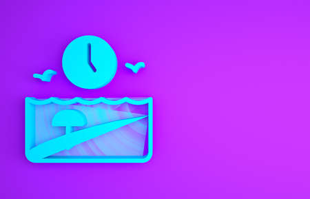 Blue Vacation time icon isolated on purple background. Minimalism concept. 3d illustration 3D render
