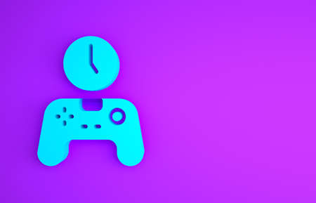 Blue Gamepad of time icon isolated on purple background. Time to play games. Game controller. Minimalism concept. 3d illustration 3D render Banco de Imagens