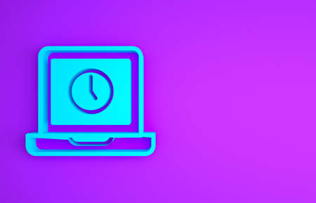 Blue Laptop time icon isolated on purple background. Computer notebook with empty screen sign. Minimalism concept. 3d illustration 3D render
