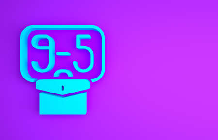 Blue From 9:00 to 5:00 job time icon isolated on purple background. Concept meaning work time schedule daily routine classic traditional employment. Minimalism concept. 3d illustration 3D render Banco de Imagens