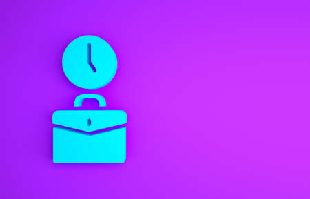 Blue Work time icon isolated on purple background. Office worker. Working hours. Business briefcase. Minimalism concept. 3d illustration 3D render
