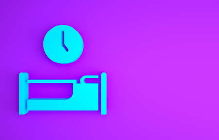 Blue Time to sleep icon isolated on purple background. Minimalism concept. 3d illustration 3D render Banco de Imagens