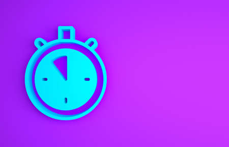 Blue Stopwatch icon isolated on purple background. Time timer sign. Chronometer sign. Minimalism concept. 3d illustration 3D render