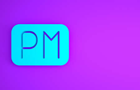 Blue Day time icon isolated on purple background. Time symbol. Minimalism concept. 3d illustration 3D render