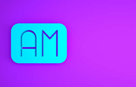 Blue Morning time icon isolated on purple background. Time symbol. Minimalism concept. 3d illustration 3D render
