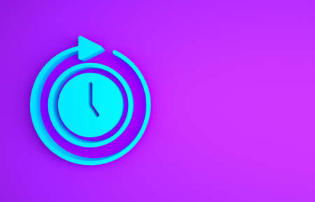 Blue Clock with arrow icon isolated on purple background. Time symbol. Clockwise rotation icon arrow and time. Minimalism concept. 3d illustration 3D render Banco de Imagens