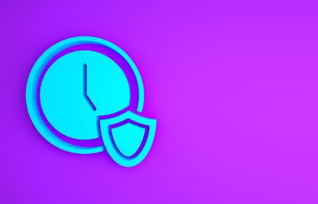 Blue Clock with shield icon isolated on purple background. Security, safety, protection, privacy concept. Minimalism concept. 3d illustration 3D render Banco de Imagens