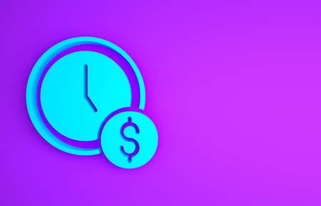 Blue Time is money icon isolated on purple background. Money is time. Effective time management. Convert time to money. Minimalism concept. 3d illustration 3D render