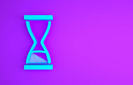 Blue Old hourglass with flowing sand icon isolated on purple background. Sand clock sign. Business and time management concept. Minimalism concept. 3d illustration 3D render