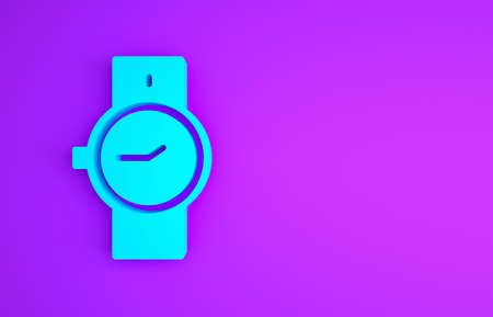 Blue Wrist watch icon isolated on purple background. Wristwatch icon. Minimalism concept. 3d illustration 3D render