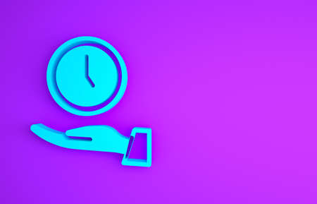 Blue Clock icon isolated on purple background. Time symbol. Minimalism concept. 3d illustration 3D render
