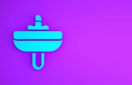 Blue Washbasin with water tap icon isolated on purple background. Minimalism concept. 3d illustration 3D render
