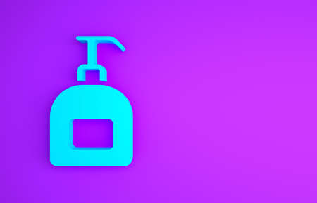 Blue Bottle of liquid antibacterial soap with dispenser icon isolated on purple background. Antiseptic. Disinfection, hygiene, skin care. Minimalism concept. 3d illustration 3D render Imagens