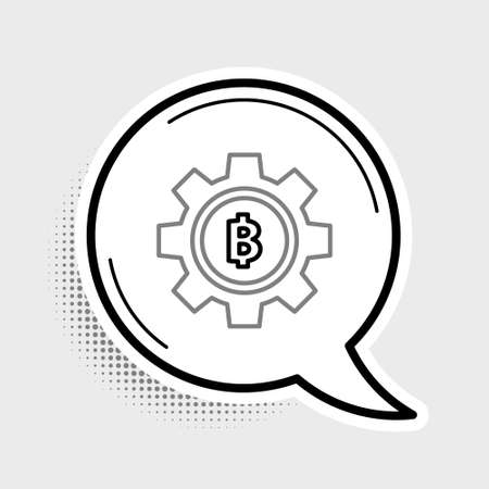 Line Cryptocurrency coin Bitcoin icon isolated on grey background. Gear and Bitcoin setting. Blockchain based secure crypto currency. Colorful outline concept. Vector Çizim