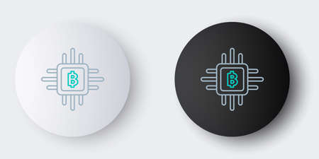 Line CPU mining farm icon isolated on grey background. Bitcoin sign inside processor. Cryptocurrency mining community. Digital money. Colorful outline concept. Vector