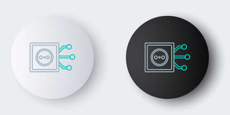 Line Smart home icon isolated on grey background. Remote control. Colorful outline concept. Vector
