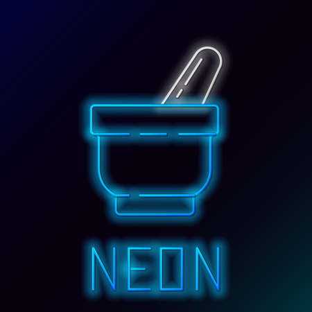 Glowing neon line Mortar and pestle icon isolated on black background. Colorful outline concept. Vector