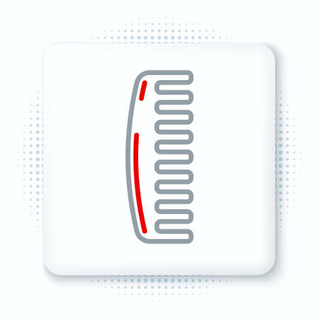 Line Hairbrush icon isolated on white background. Comb hair sign. Barber symbol. Colorful outline concept. Vector Ilustração