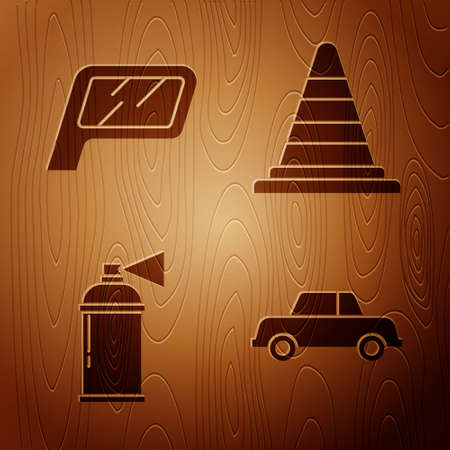 Set Car, Car mirror, Paint spray can and Traffic cone on wooden background. Vector. Vetores