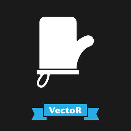 White Sauna mittens icon isolated on black background. Mitten for spa. Vector