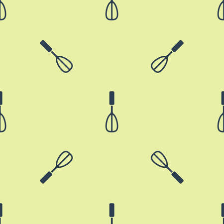 Blue Kitchen whisk icon isolated seamless pattern on yellow background. Cooking utensil, egg beater. Cutlery sign. Food mix symbol. Vector